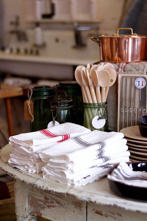 Classic French White/Grey Tea Towel