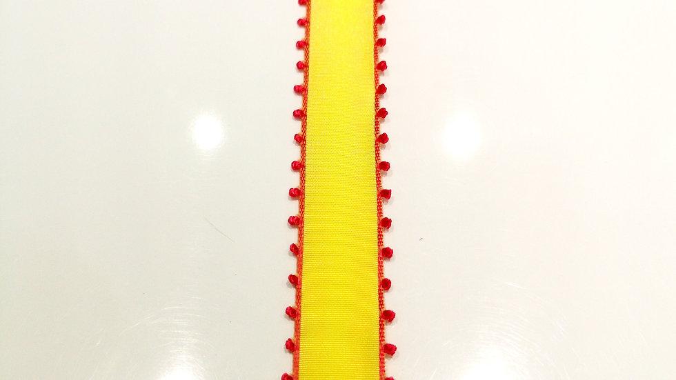 ruban jaune et rouge mercerie
