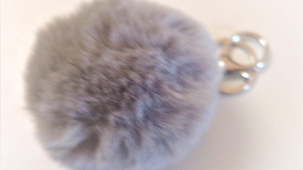 pompom porte clé clef gris mercerie