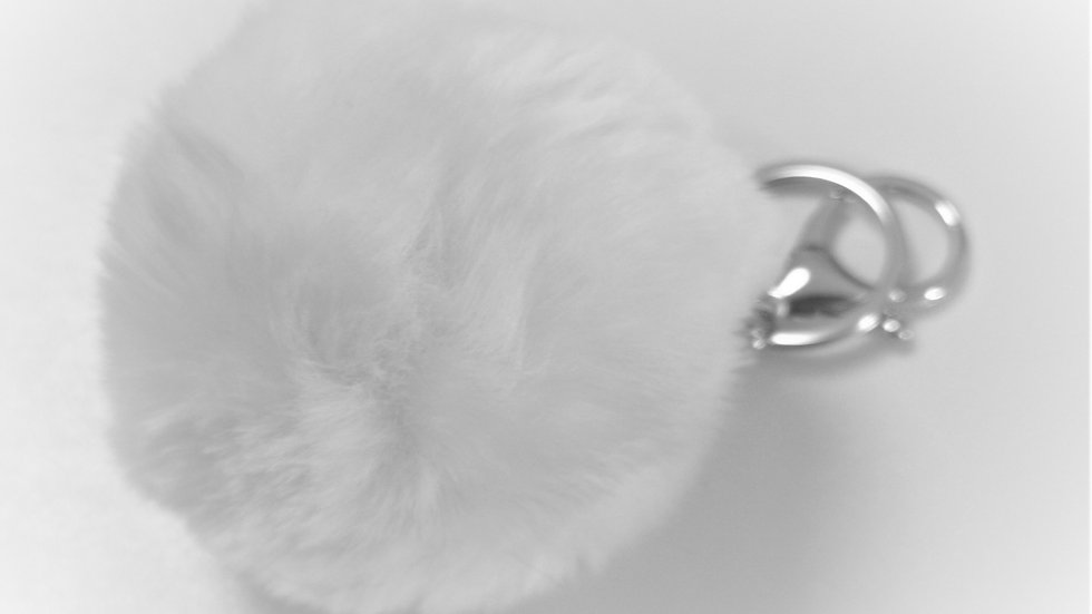 pompon porte clef blanc mercerie