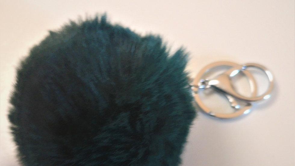 pompon porte clef vert foncé mercerie