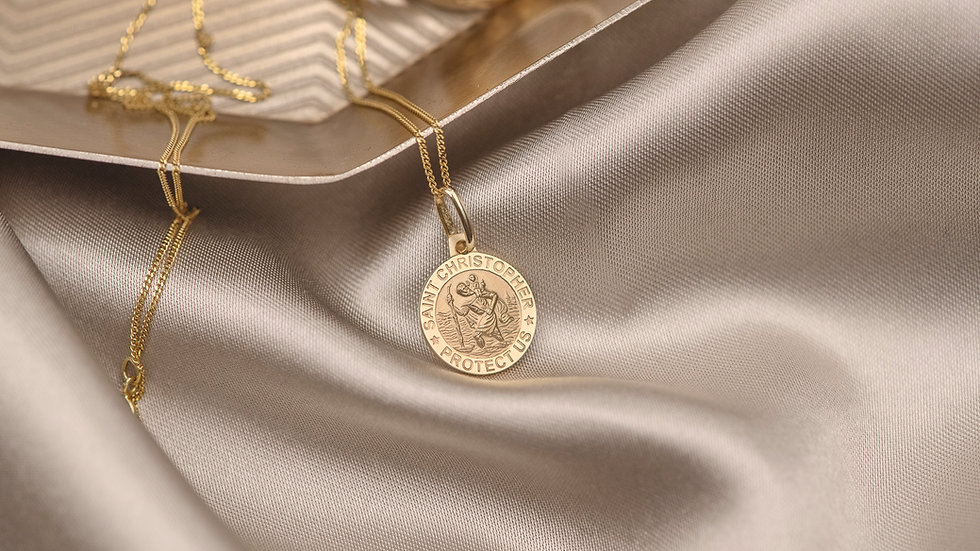 9ct Solid Gold St Christopher Pendant