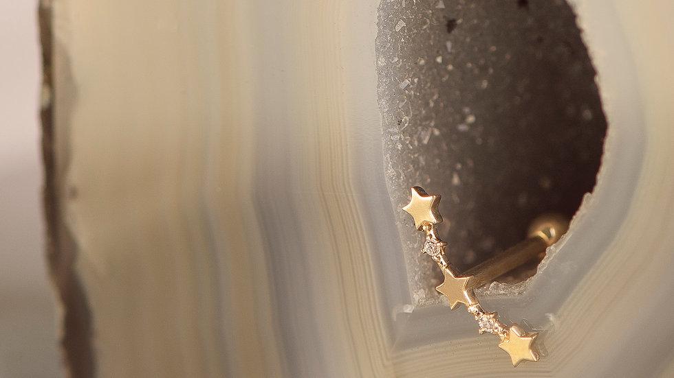 9ct Solid Gold Star Crescent Cartilage Bar