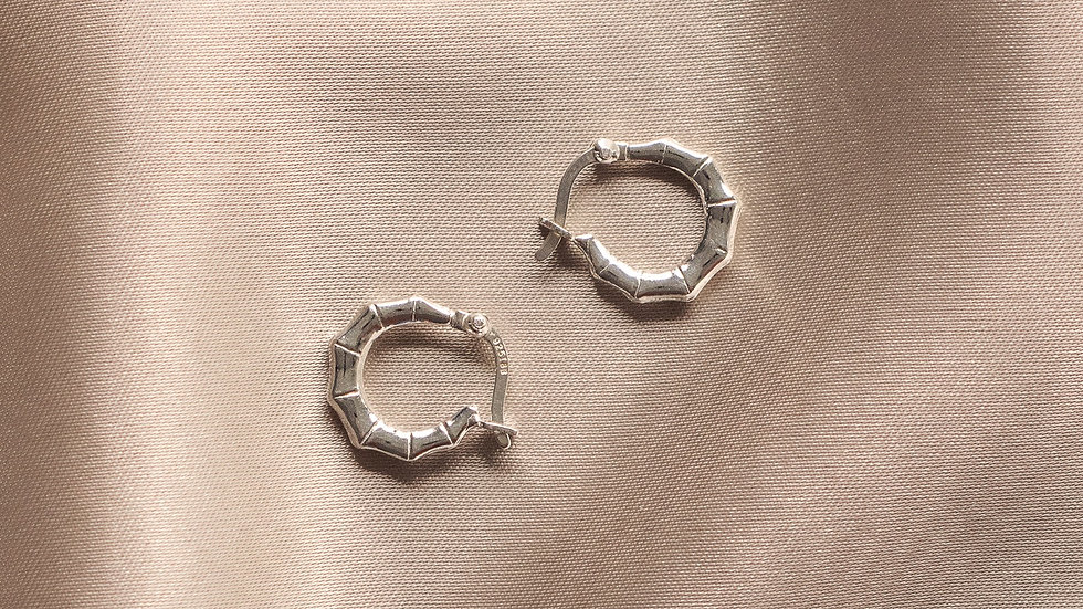 Sterling Silver Bamboo Hoops