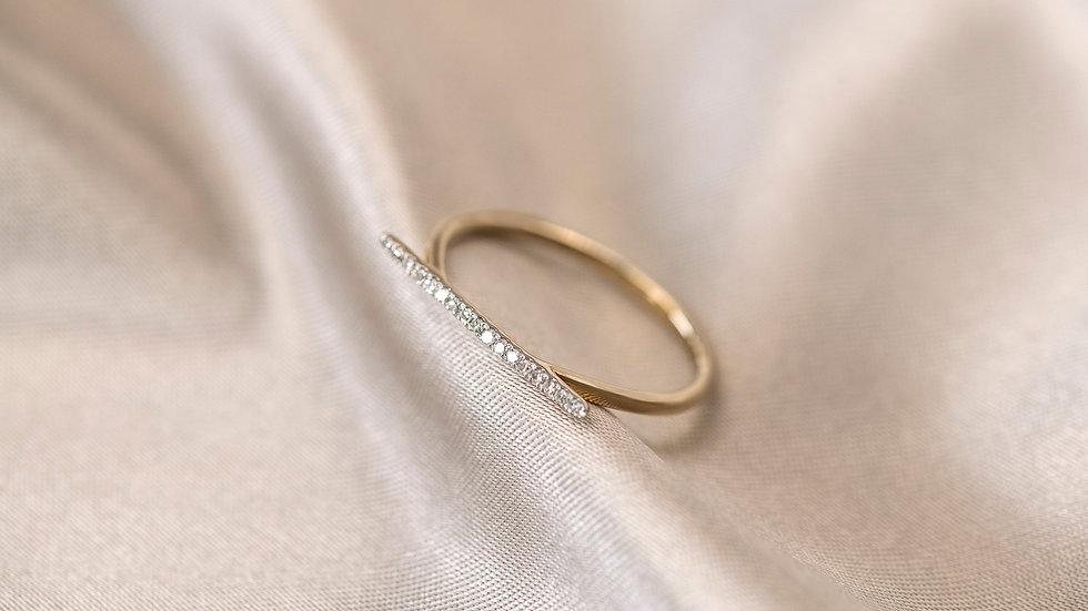 9ct Gold Diamond Bar Ring