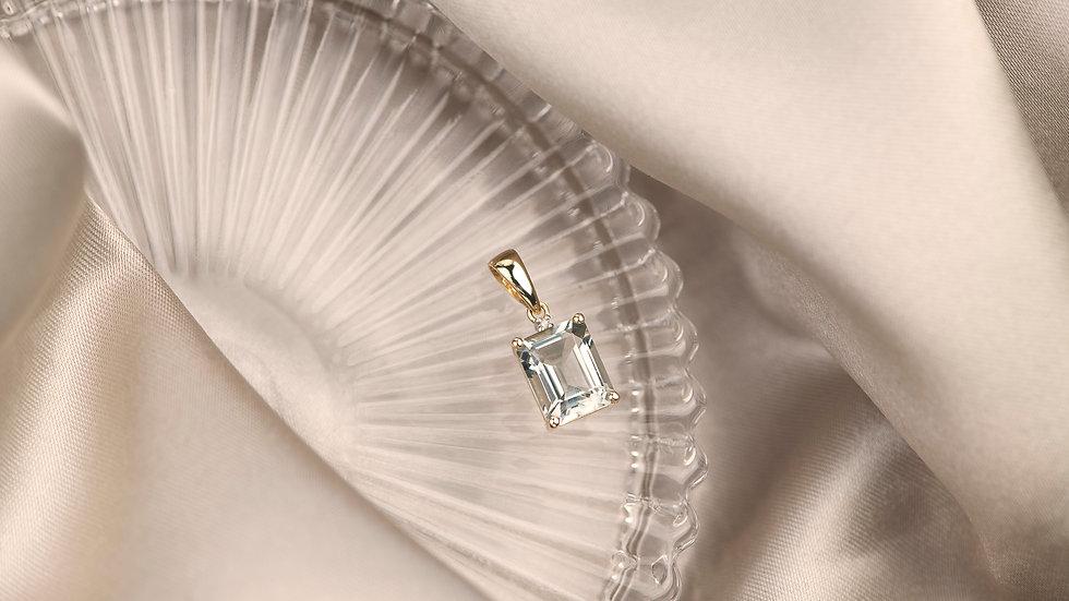Green Amethyst & Diamond 9ct Solid Gold Pendant