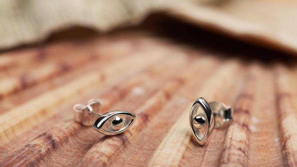 Sterling Silver Evil Eye Earrings