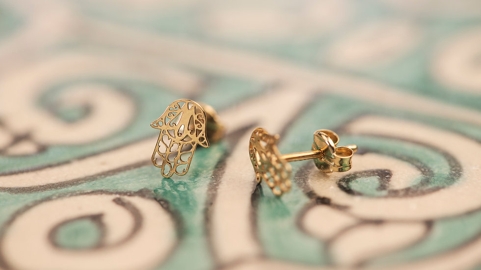 9ct Solid Gold Hand of Fatima Earrings