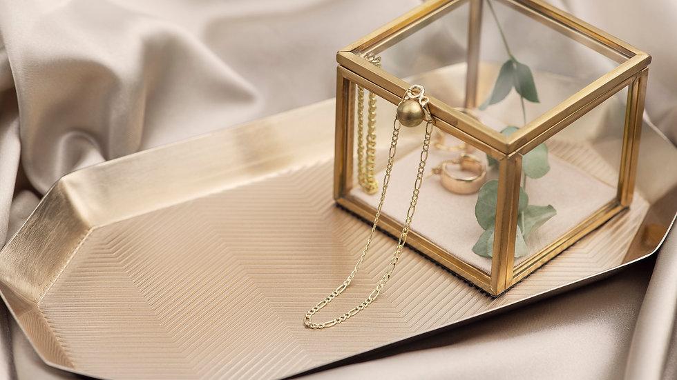 9ct Solid Gold Fine Figaro Bracelet