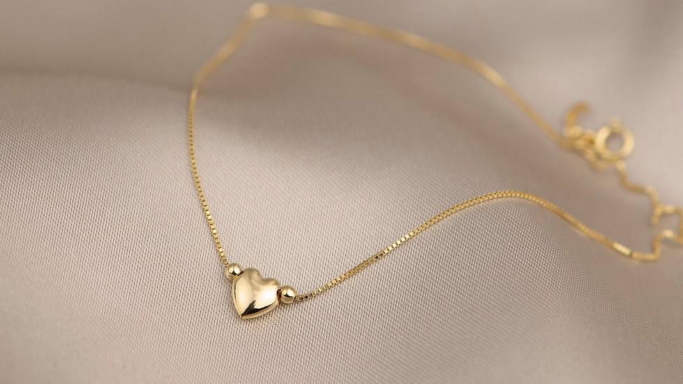 9ct Solid Gold Heart Anklet