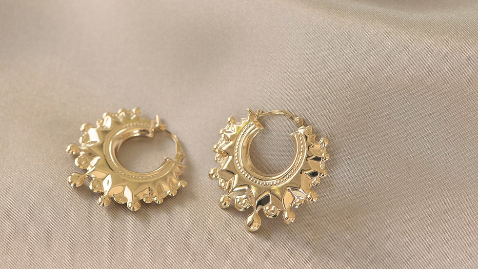 9ct Solid Gold Romany Kreol Hoops