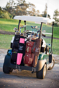Pink and black bag on back of cart_edite