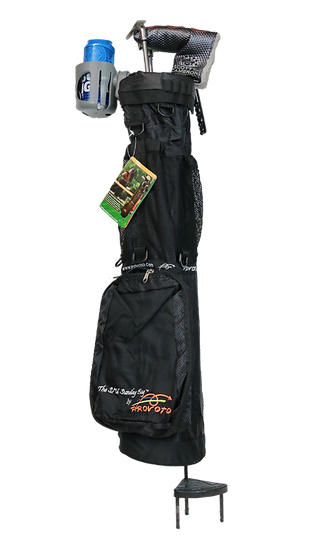 Black Caddie Bag + Options, Stand and Cup Holder