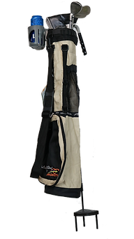 Tan Caddie Bag, Stand and Cup Holder