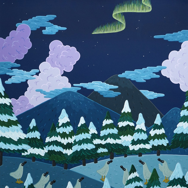 Aurora chasers, 116x91cm, gouache on can