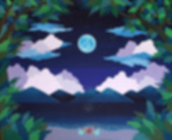 Under the moonlight, 130x162cm, gouache