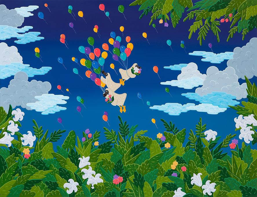 Flight of happiness, 130x162cm, gouache