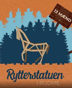 Rytterstatue. Kunstprojekt udført af Rudmes kreative mænd.