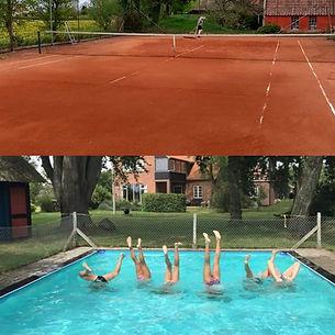Pool og tennisbane som alle i landsbyen Rudme frit kan benytte