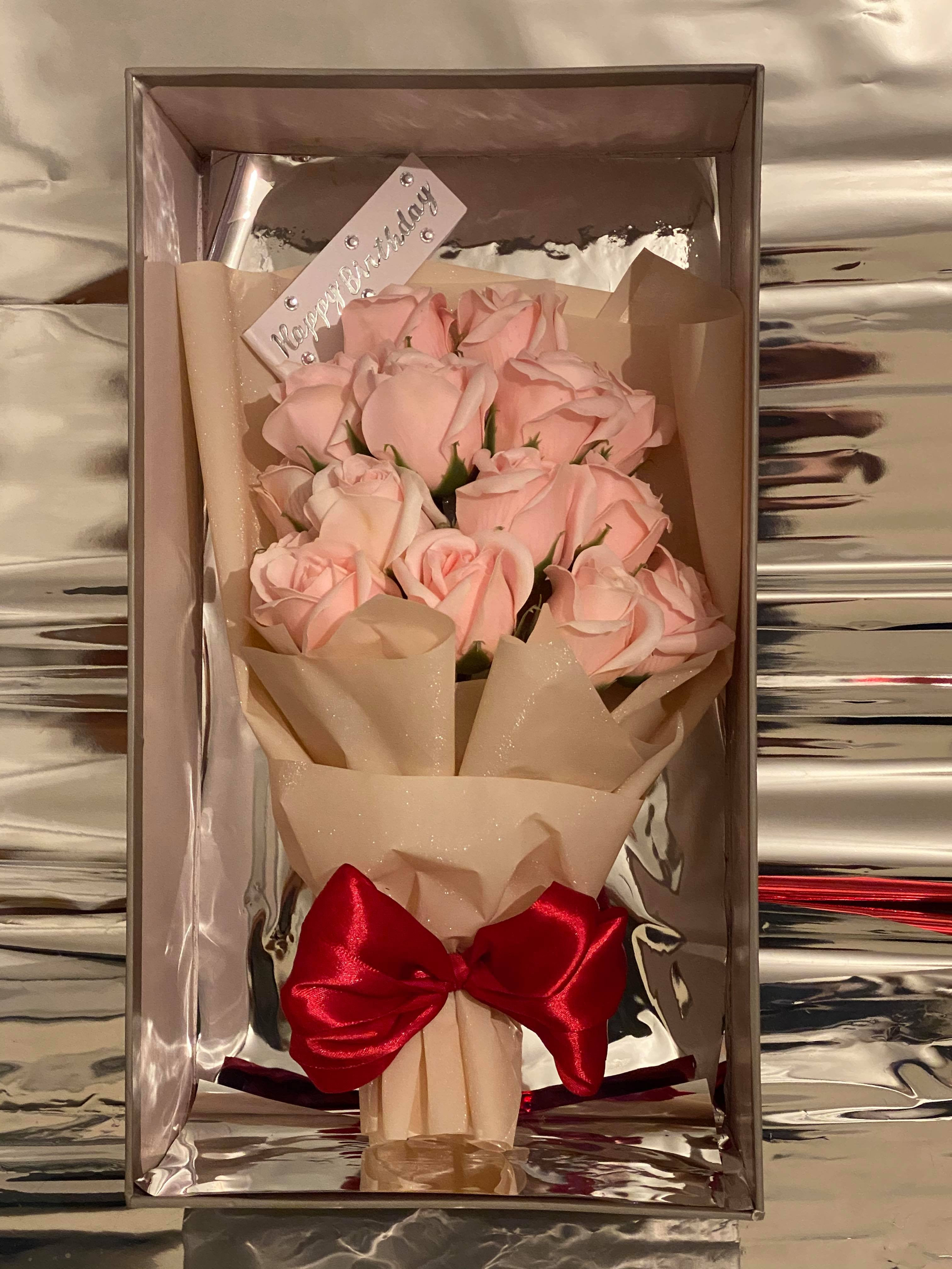 Luxury Grey Box Pink Bouquet Flowers House
