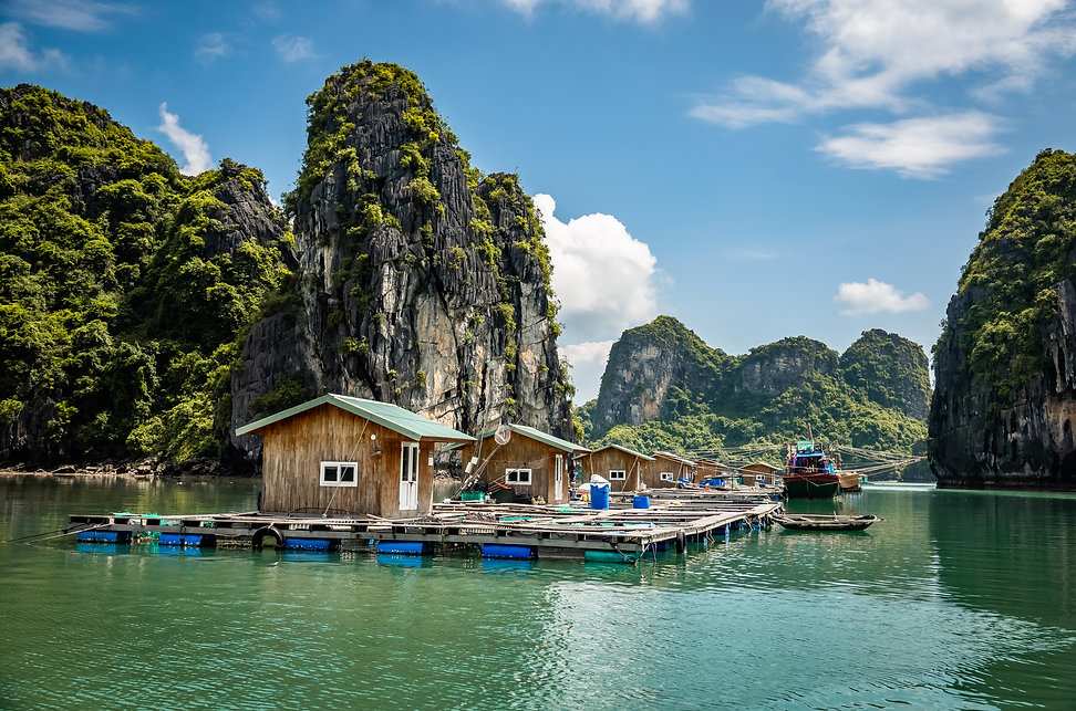 Floating fishing farm Bai Tu Long Bay sh