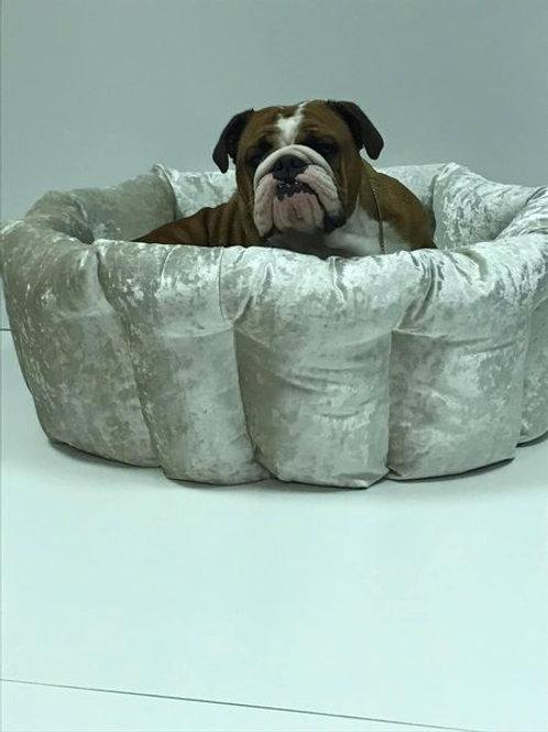 Crushed Velvet Barrel Bed