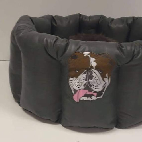 Barrel Bed with Bulldog Face Embroidered