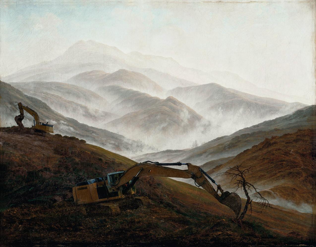 """Meanwhile, after Caspar David Friedrich, 1774-2017 """"Brume sur le Riesengebirge"""", study, 1820-1821, 39,05 x 50 cm"""