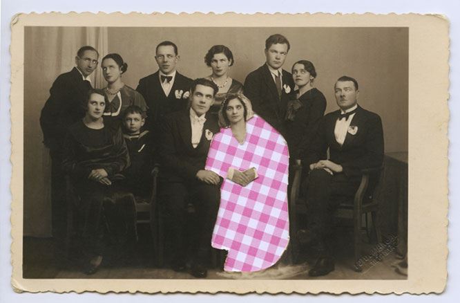 This picture used to give me creeps when I was a child. Grandma and her colleagues from school are all dressed in black except for one woman in the first row - she's wearing something bright and chequered. The photo had faded over the years and eyes had become blank spaces without any sign of pupils.