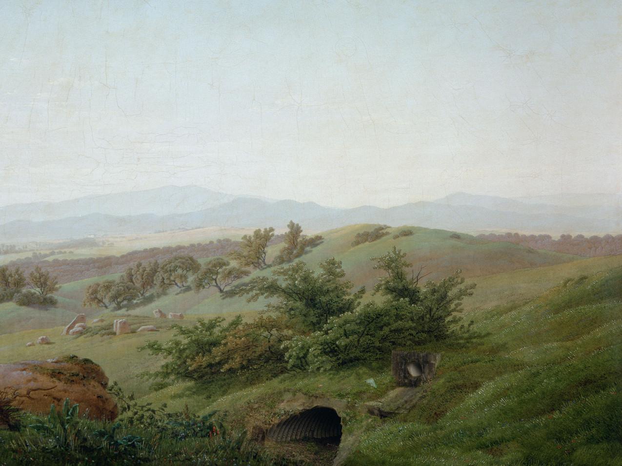 """Meanwhile, after Caspar David Friedrich, 1774-2017 """"Paysage lacustre"""", study and detail, 1810, 60 x 45 cm"""