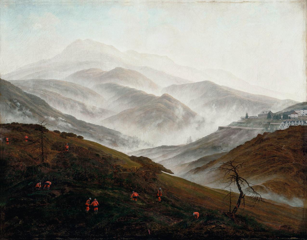 """Meanwhile, after Caspar David Friedrich, 1774-2017 """"Brume sur le Riesengebirge"""", 1820-1821, 54,9 x 70,3 cm"""