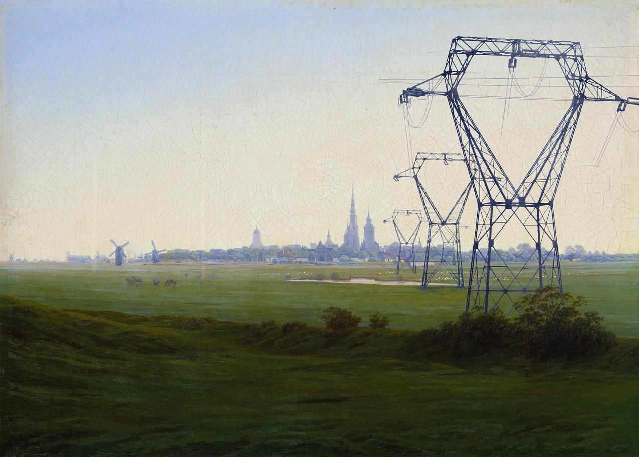 """Meanwhile, after Caspar David Friedrich, 1774-2017 """"Prairies près de Greifswald"""", study, 1820-1821, 35 x 48,9 cm"""