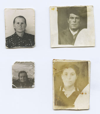 A bunch of old and heavily worn photos initially taken for documents – my grandfather, my grandmother, her mother, and her grandmother. It is the only surviving (is it?) image of the latter – my great-great-grandmother.