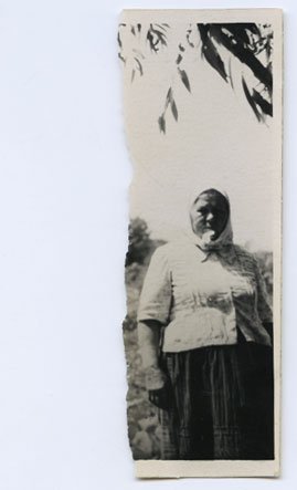 My grandfather's sister - that makes her my grandaunt I guess. Never was good at all that 'second cousin once removed' stuff. Half of the photo was torn off and I never found out who was in it. Maybe it was her husband, whom she had killed with an axe – in self-defence.