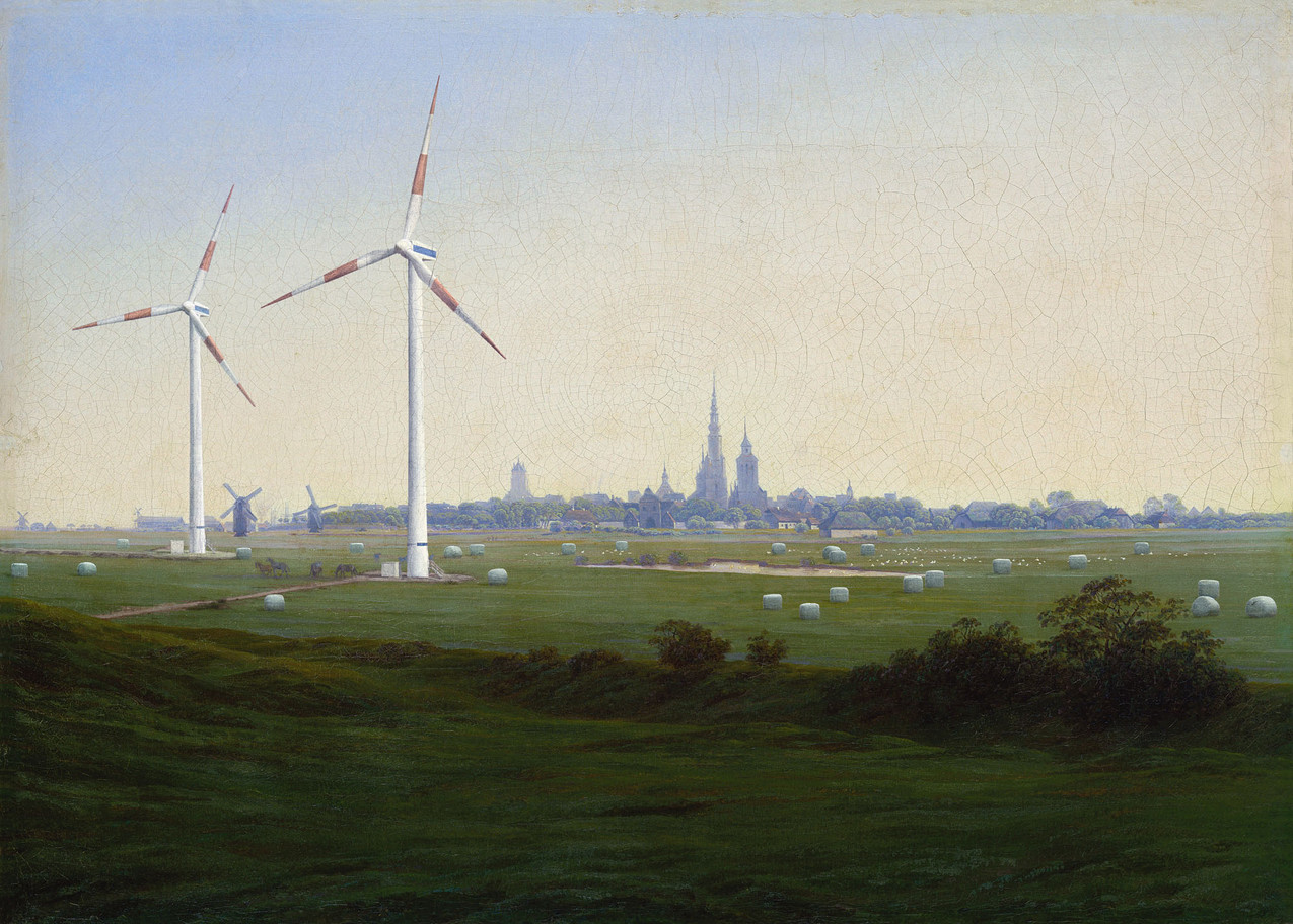 """Meanwhile, after Caspar David Friedrich, 1774-2017 """"Prairies près de Greifswald"""", 1820-1821, 52 x 73 cm"""