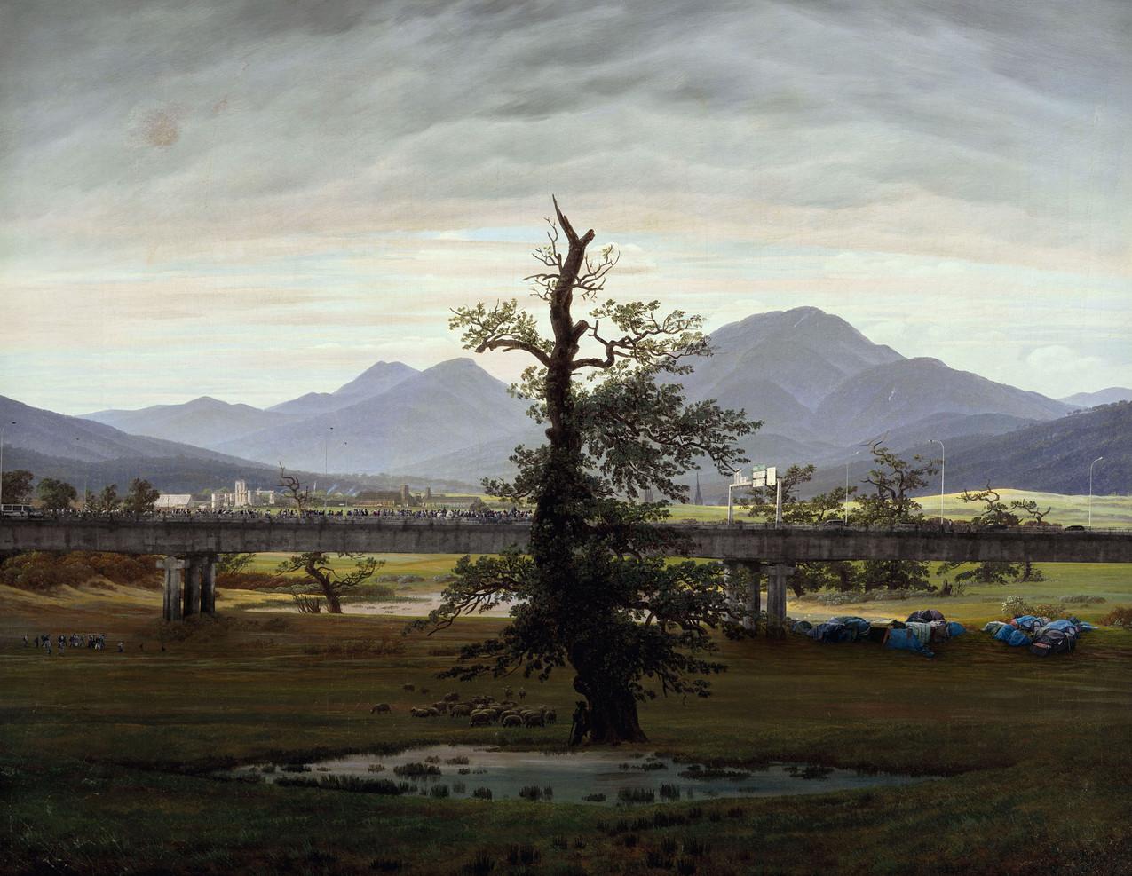 """Meanwhile, after Caspar David Friedrich, 1774-2017 """"L'arbre solitaire ou Paysage champêtre, au lever du jour"""", 1822, 55 x 71 cm"""
