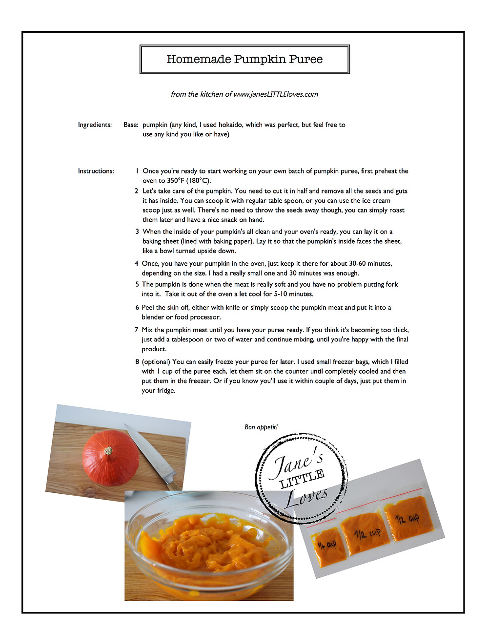 homemade pumpkin puree recipe card printable