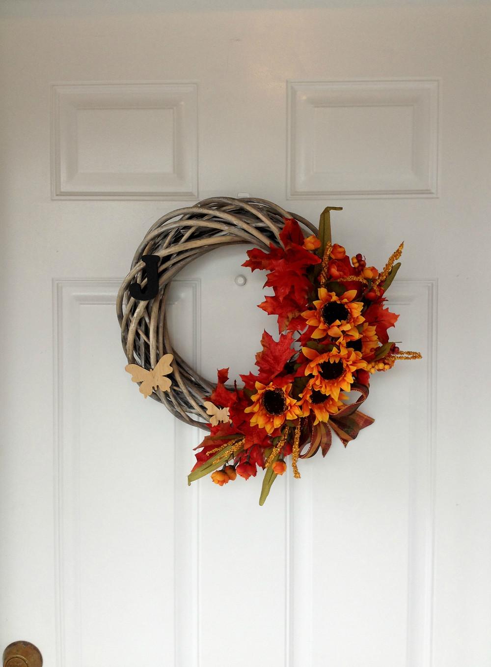 fall door wreath DIY autumn
