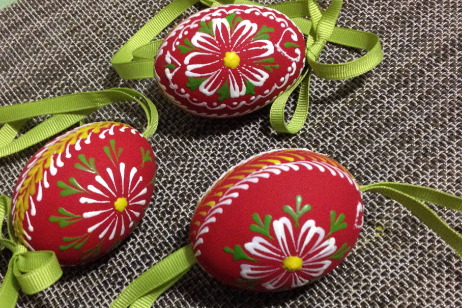wax-painted Easter eggs