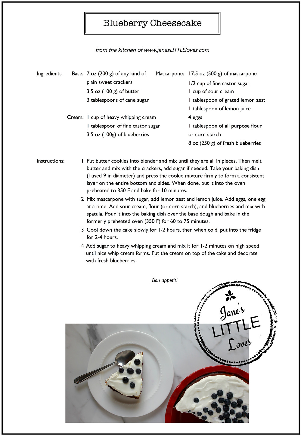 blueberry cheesecake recipe card