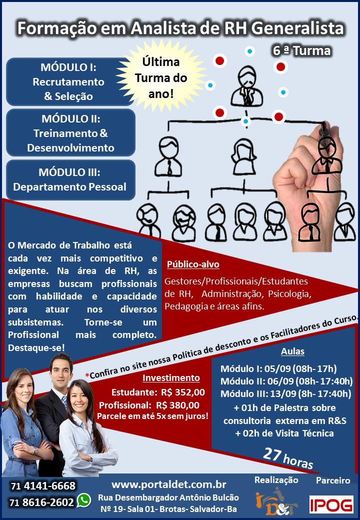 7dc2c0bcba0bf Curso  Formação em Analista de RH Generalista- Inscrições até dia 24 ...