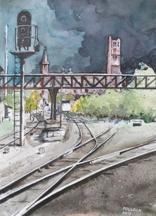ALBI CATHEDRAL WITH RAILWAY TRACKS
