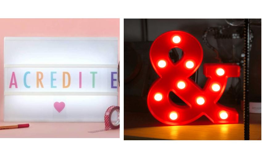 Luminária de mesa letras/letreiros