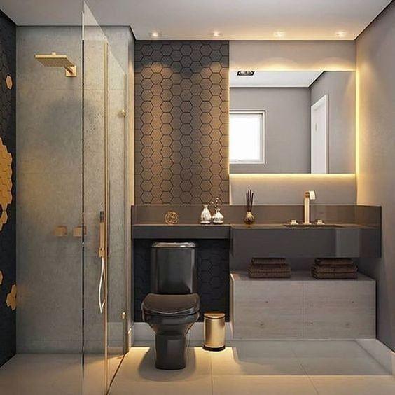 Decoração para banheiros tons escuro cinza