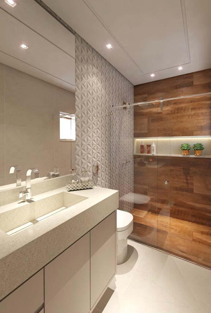 Decoração para banheiros revestimento amadeirado