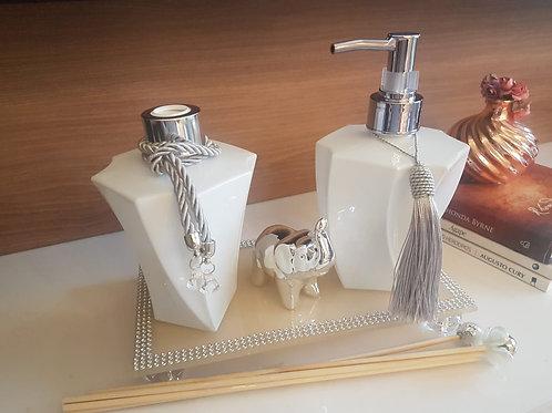 Kit Luxo Prata Details - Difusor de varetas, sabonete liquido, bandej