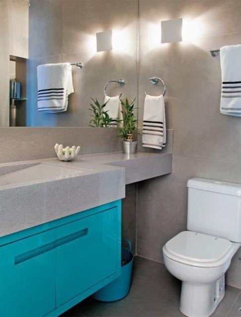 Decoração para banheiros mistura de tons