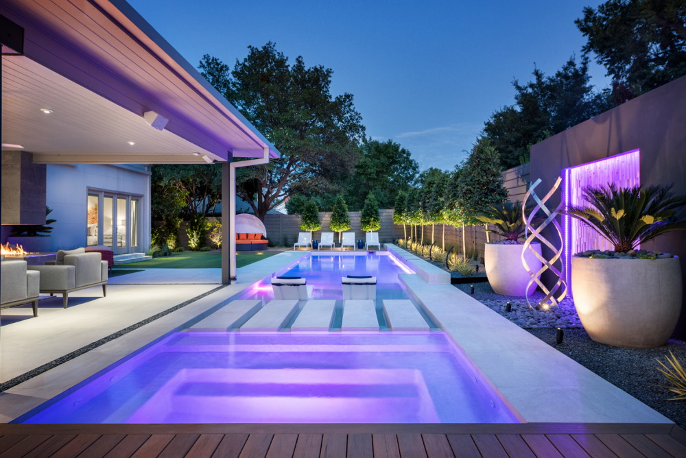 North Dallas Full Property Modern Landscape Design + Pool