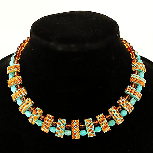 Carrier Bead Necklace - Turquoise & Amber