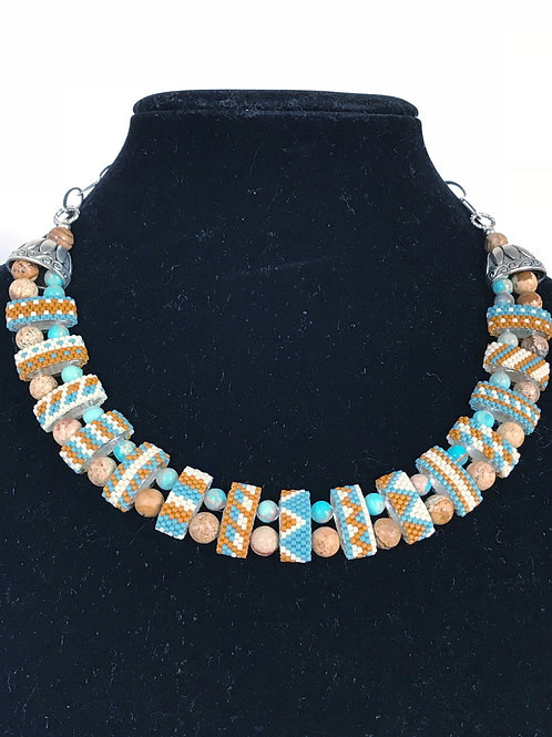 Carrier Bead Necklace - Turquoise & Jasper